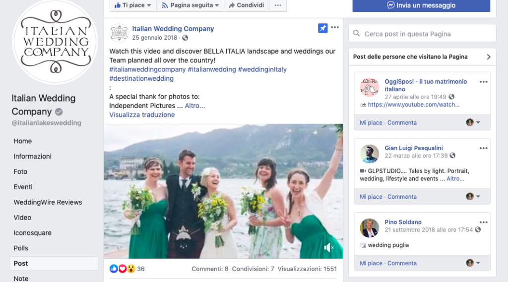 gestione account aziendale sui social di italian wedding company