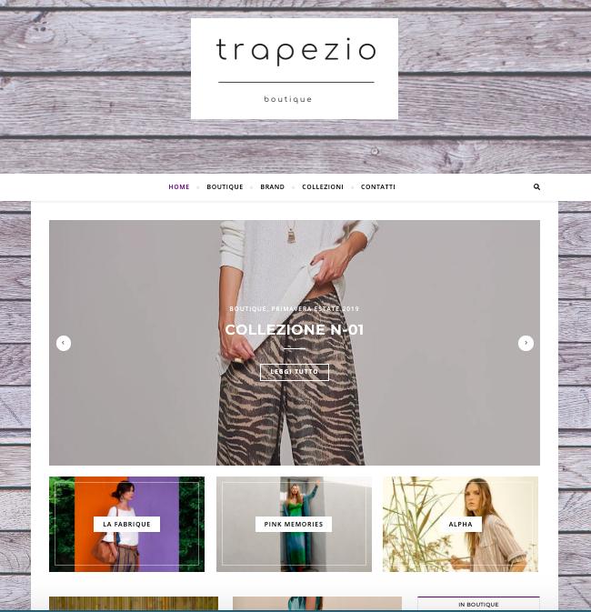 Progettazione, realizzazione e manutenzione del sito web della Boutique Trapezio
